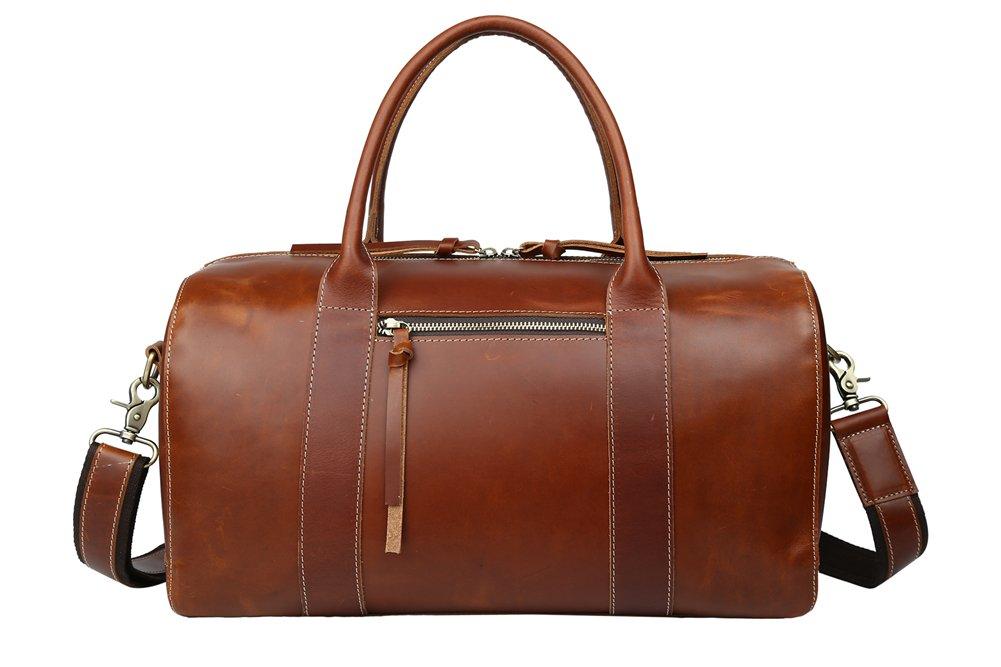 Genda 2Archer Men's Vintage Classic Italian Leather Weekender Duffel Bag Luggage Tote (Brown )