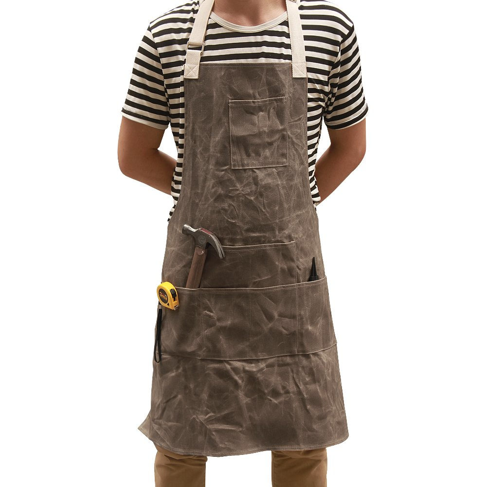 Utility Waxed Canvas Work Apron Multi-Use Shop Aprons with Six Pockets Heavy Duty Waterproof Tool Apron for Men Women (Dark Gray, Adjustable Neck Strap) WQ03-2