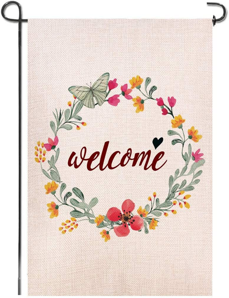 Shmbada Flowers Welcome Burlap Double Sided Garden Flag, Premium Material, Seasonal Spring Summer Outdoor Decorative Flags for Garden Yard Lawn, 12.5 x 18.5 inch