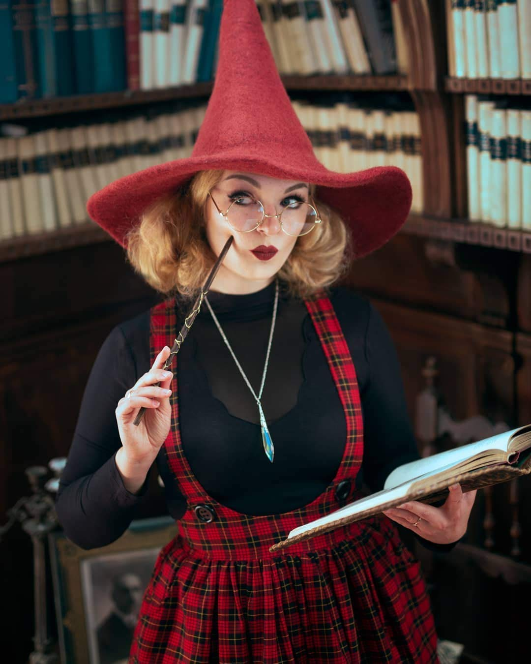 Sombrero de bruja rojo de lana dark wicca halloween disfraz ...