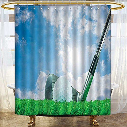 AmaPark Bathroom Shower Curtain Bath Decor Sports Golf Ball and Iron Club on Grass and Cloudy Sky Shining Sun Anti Mold Water Resistant Healthy Fabric Curtain 54 x 78 inches - Savona Iron