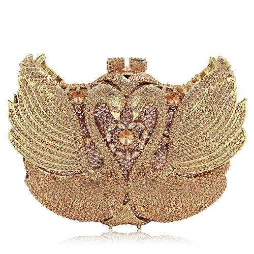 De Mariage Haute Sac Sculpt de Strass Crystal Femmes Soirée de Color Pochette Gold discothèques Soirée Bourse pour Swan Luxe Miss Joy Qualité Champagne HxEIqwxpS