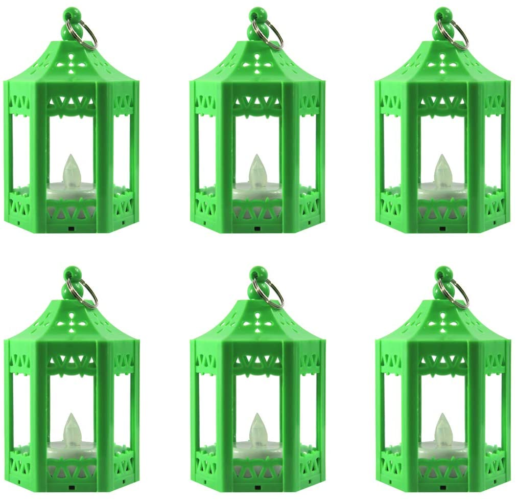Vela Lanterns Mini Candle Lantern with Flickering LED Tea Light Candle, Batteries Included, Green, Set of 6