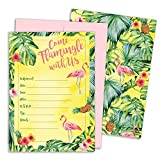 Tropical Aloha Flamingo Pineapple Invitation Cards with Envelopes, 25 Count