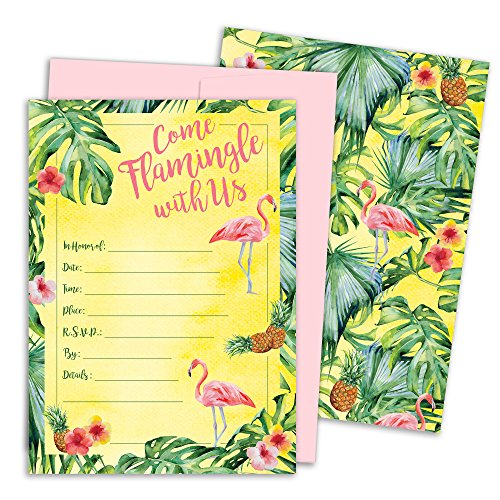 Tropical Aloha Flamingo Pineapple Invitation Cards with Envelopes, 25 Count (Invitations Stationery And)