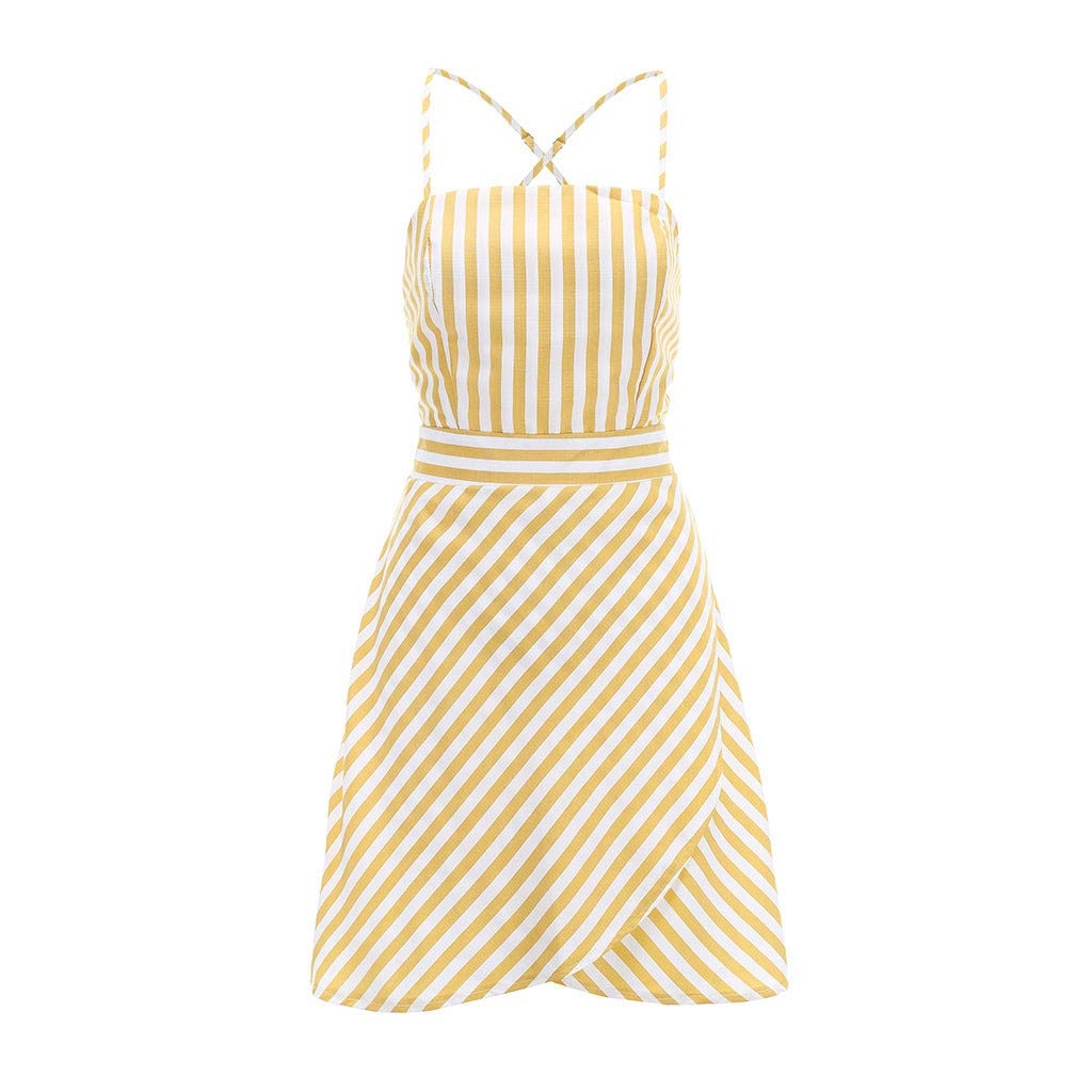 Women Stripe Cami Dress - Ladies Boat Neck Sleeveless Spaghetti High Waist Mini Dresses - Elegant Back Crisscross Beach Daily Clothes (L, Yellow) by Leadmall Dress (Image #6)