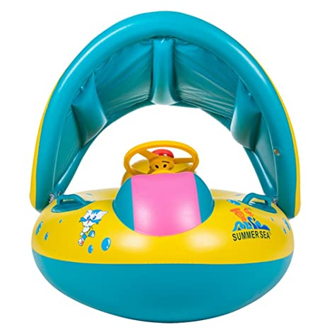 Sunshine smile Baby schwimmring mit sonnendach Aufblasbares Kinderboot Aufblasbarer Schwimmhilfe Baby Pool Schwimmring Aufblasbares Schwimmen Ring Schwimmsitz B