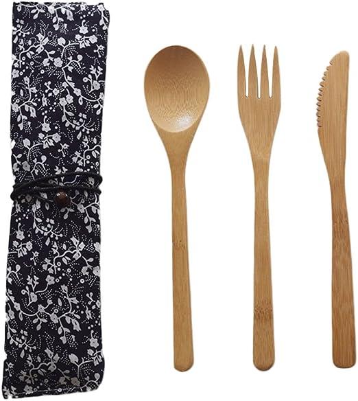 Purebesi Cubiertos de Mesa (Madera bambú Tenedor Cuchillo Cuchara ...