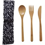 StageOnline Set di posate in bambù, biodegradabili, forchetta, cucchiaio e coltello, ideali per picnic e campeggio