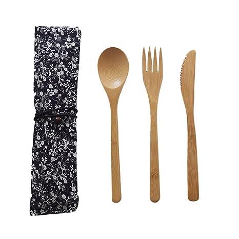 Purebesi Cubiertos de Mesa (Madera bambú Tenedor Cuchillo Cuchara de Madera (bambú)