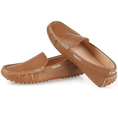 Amazoncom Pianfai Womens Driving Shoes Flat Leather Shoes Penny