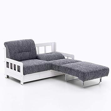 Schlafsofa Campuso Grau Weiss Stoff Sofa Couch Massiv Holz Schlafcouch Bettfunktion