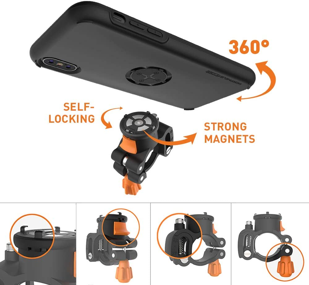 Bike Kit for iPhone 11 Pro MORPHEUS LABS M4s iPhone 11 Pro Bike Mount fits Most Handlebars Phone Holder /& iPhone 11 Pro Case 360 Rotation Stand Black Adjustable Bicycle Cell Phone Holder