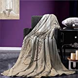 Paris travel blanket Parisian Woman Sleeping with the View of Eiffiel Tower from Window Romance Skecthy Modern Flannel blanket Cream size:51''x31.5''