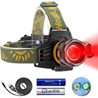 Headlamp Red and White Light, LED Headlamp 4 Modes, Waterproof Super Bright Adjustable Zoomable Flashlight for Hunting…
