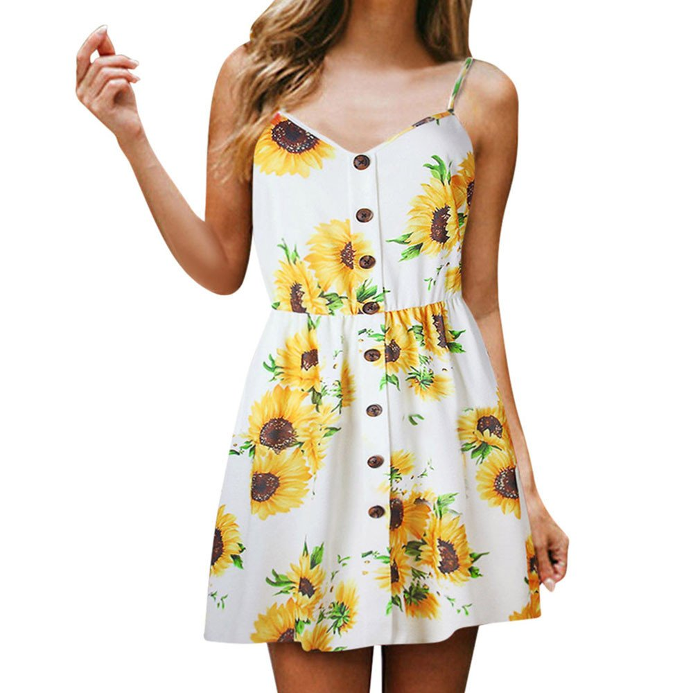 Womens Dresses Women's Sunflower Printed Vintage Spaghetti Strap Summer Beach Camis Dress (M, White)