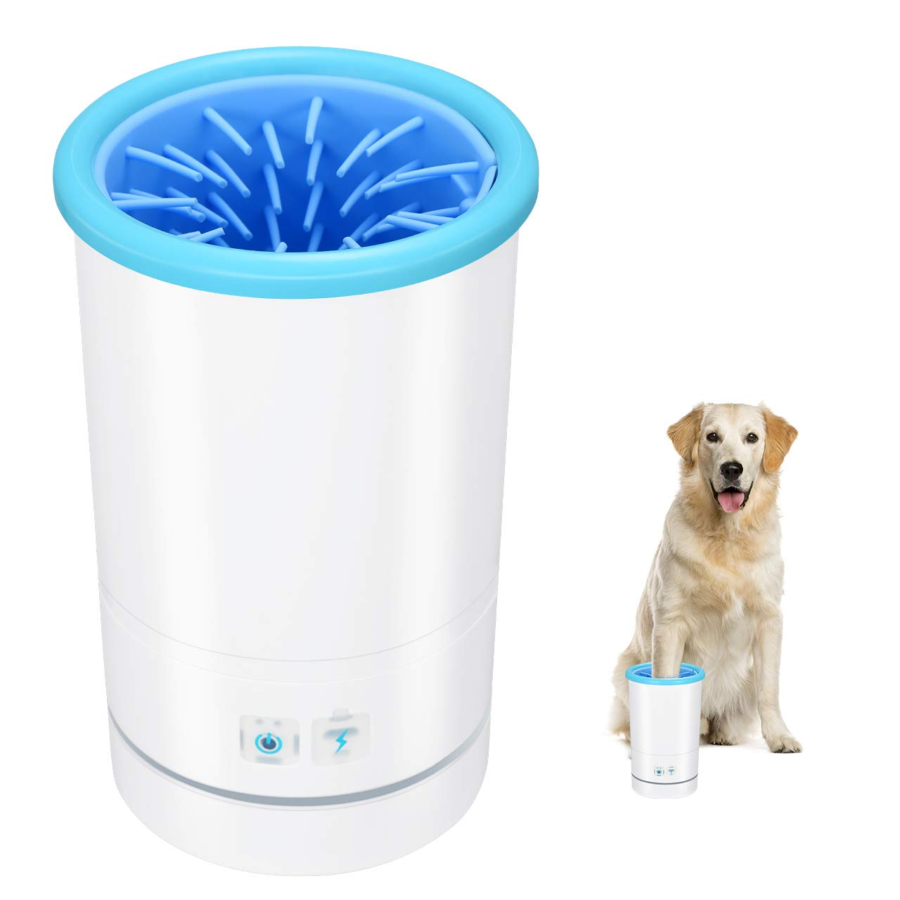 OMORC Pet Automatic Paw Cleaner, Portable Paw Washer with Soft and Removable Silicone Brush, Colorful Light, USB Rechargeable, Paw Cleaning Cup Both for Dog and Cat