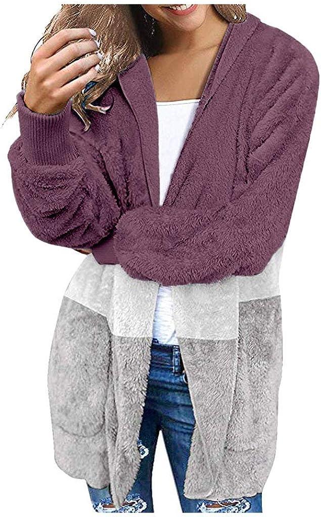 BaZhaHei Giacca Donna,Donna Cappotto Peluche Elegante Casual Moda Cardigan Donna Invernale Lana Autunno Cappotto con Cappuccio Taglie Forti-Alta qualit/à Top