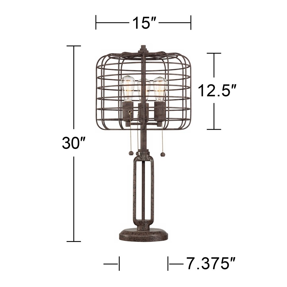 Industrial cage edison bulb rust metal table lamp amazon com