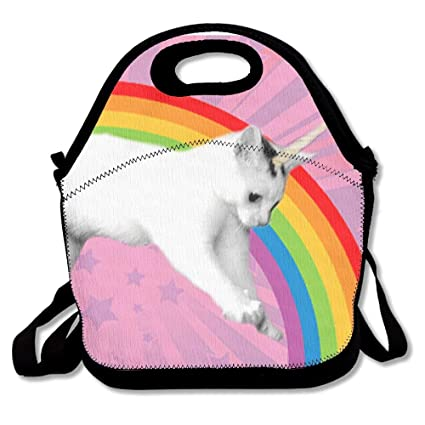 974435c2f6 Image Unavailable. Image not available for. Color: Rainbow Unicorn Cat  Lunch Bag CANCAKA Fashion Style Lunch Box Handbag For Kids And Adults