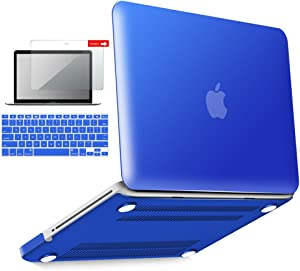 IBENZER MacBook Pro 13 Inch case A1278 Release 2012-2008, Plastic Hard Shell Case with Keyboard & Screen Cover for Apple Old Version Mac Pro 13 with CD-ROM, Royal Blue, P13RBL+2