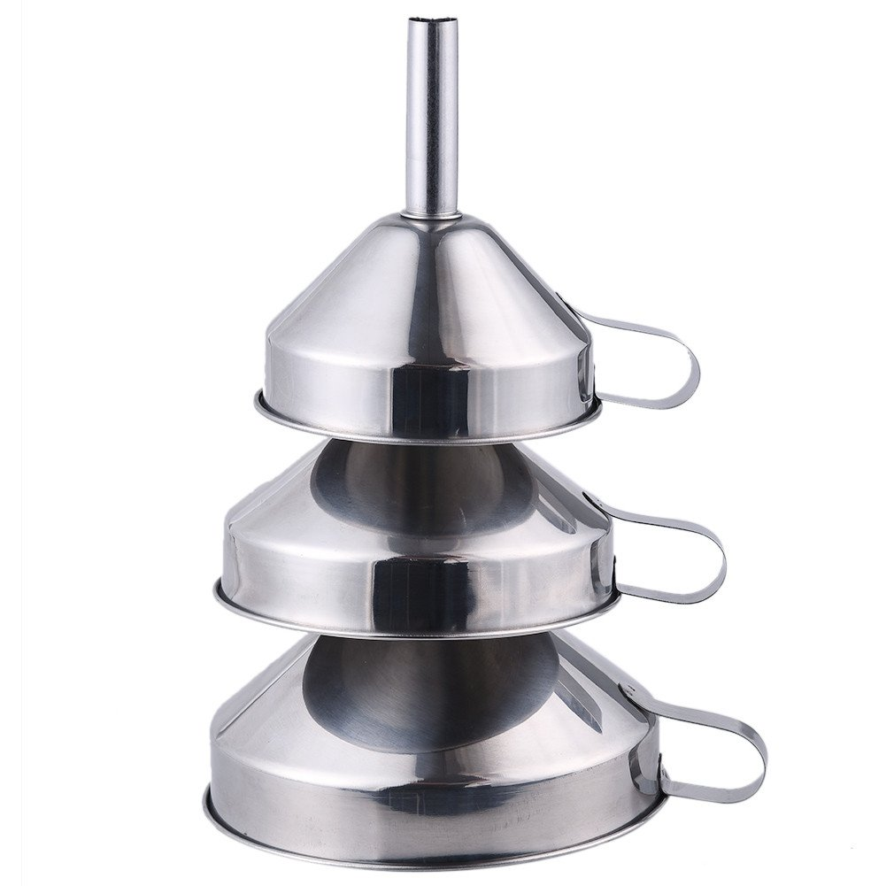 AIHOME™ Professional Kitchen Funnel 3-Piece Stainless Steel Funnel Set For Oil wine