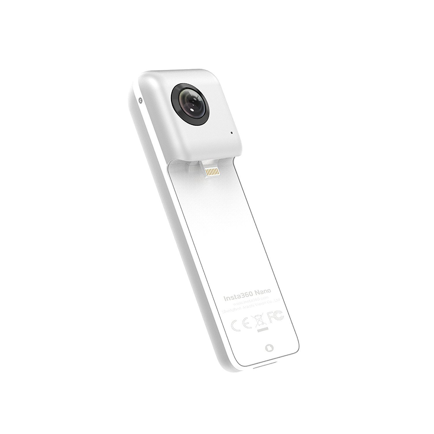 Insta360 Nano 360 Degree Camera VR 3D Panoramic Point and Shoot Digital Video Cameras 3K HD Dual Wide Angle Fisheye Lens for iPhone 7, 7 Plus and all iPhone 6 series, 360 Live on Facebook- Pearl White by insta360 (Image #1)