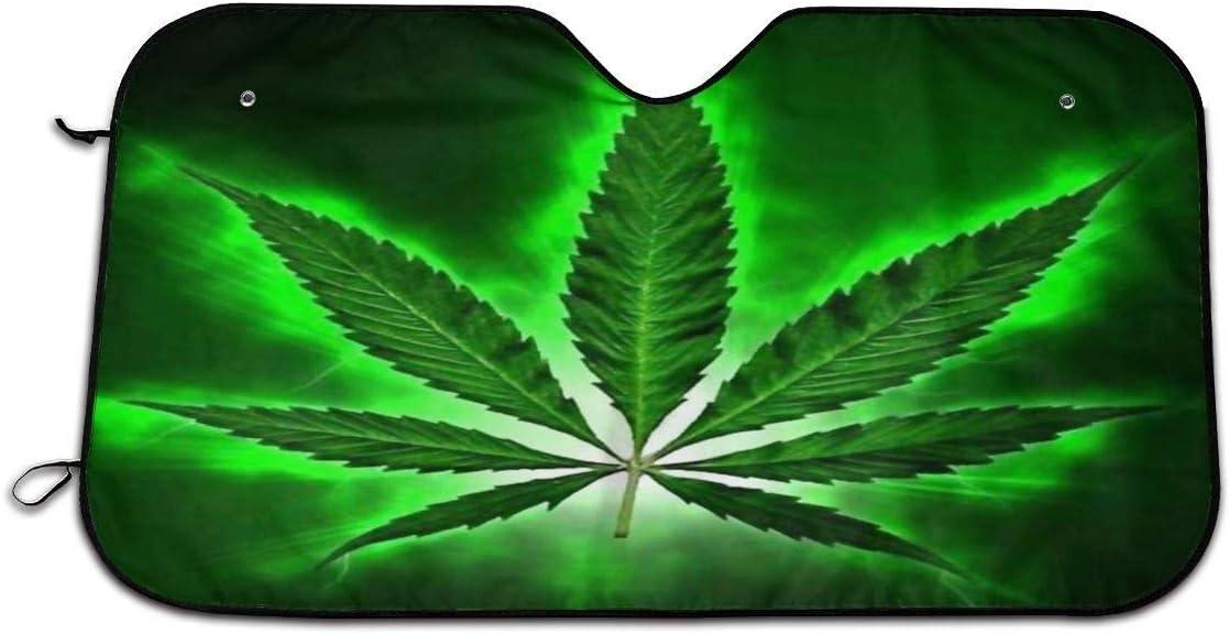 Parasol para Ventana Delantera de Coche con diseño de Marihuana de Cannabis, Ajuste Universal, protección contra Rayos UV, Sol y Calor (27.5 x 51 Pulgadas)