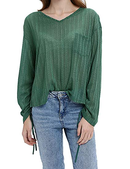 6ebb84d8d5 XTX Women's Tops T Shirts Long Sleeve Solid Drawstring Pocket Decoration  Loose Blouse at Amazon Women's Clothing store:
