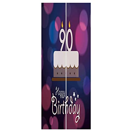3d Door Wall Mural Wallpaper Stickers 90th Birthday DecorationsDreamy Layout With Color Spots