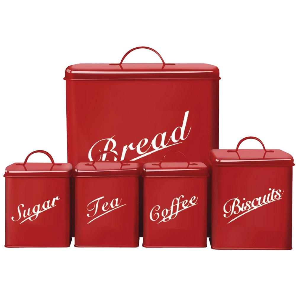 Chef Vida Biscuits/Tea/Coffee/Sugar/Bread Bin Kitchen Storage Canister Set, Metal, Black, 5-Piece Lassic 333260