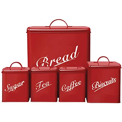 Canister Set 5 Piece Purple Sugar Tea Coffee Biscuits Bread Kitchen Storage Set