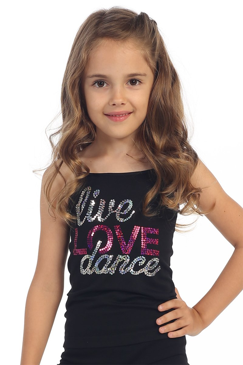 Kurve Kids Dance Sequin & Stud Full Length Cami -Made in USA- (One Size (4-9), Live Love Dance Neon Fuschia)