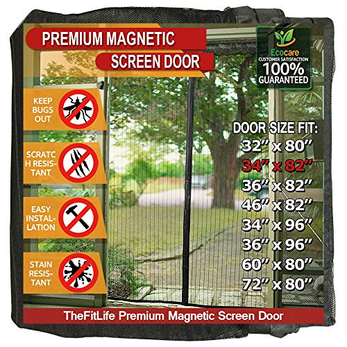 TheFitLife Magnetic Screen Door - Heavy Duty Mesh Curtain with Full Frame Hook and Loop Powerful Magnets That Snap Shut Automatically - Black 36x83 Fits Door Size up to 34x82 Max
