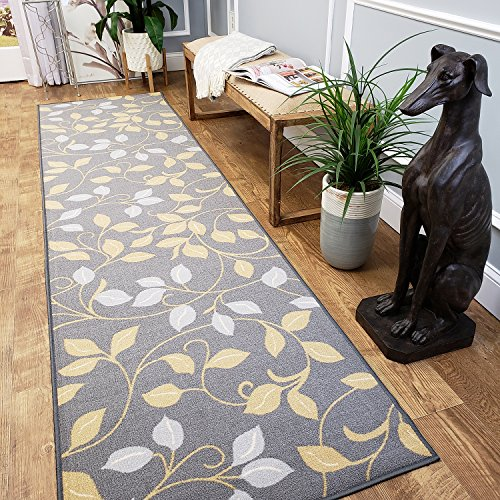 CUSTOM CUT 31-inch Wide by 11-feet Long Runner, Grey Floral Non Slip, Non-Skid, Rubber Backed Stair, Hallway, Kitchen, Carpet Runner Rug - Choose your Width by Length -