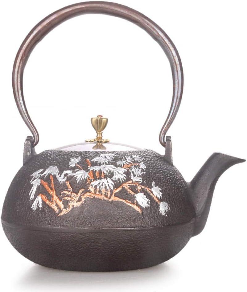 Juego de té Teteras de hierro fundido tetera hecha a mano sin revestimiento caldera hervidor de agua bambú doble cobre dibujo chino kungfu tetera 1.3L