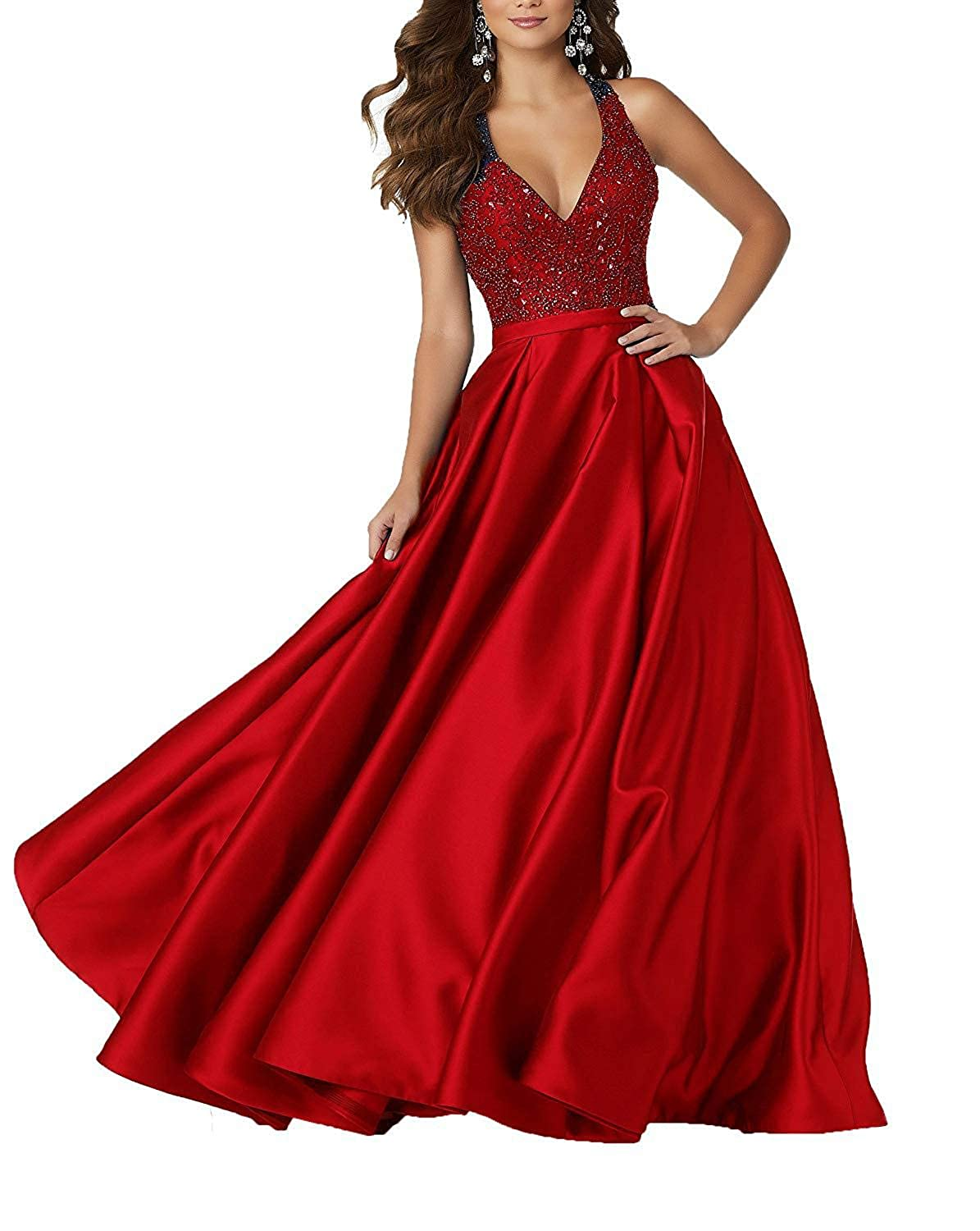 Red Staypretty Long Prom Gowns for Women Beaded V Neck Evening Dress Satin Aline Backless Formal Gown