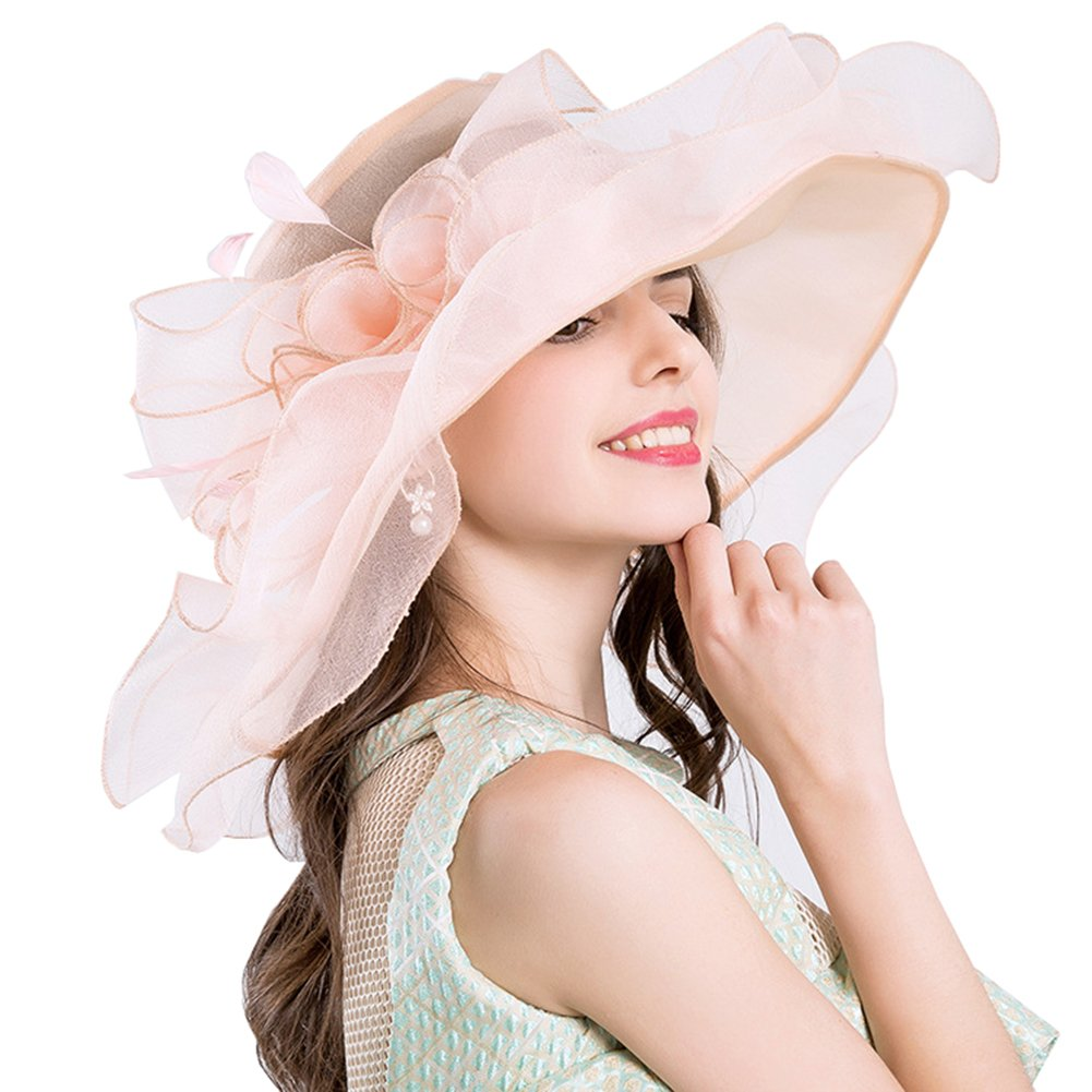 Molodo Women's Organza Church Kentucky Derby Fascinator Bridal Tea Party Wedding Hat