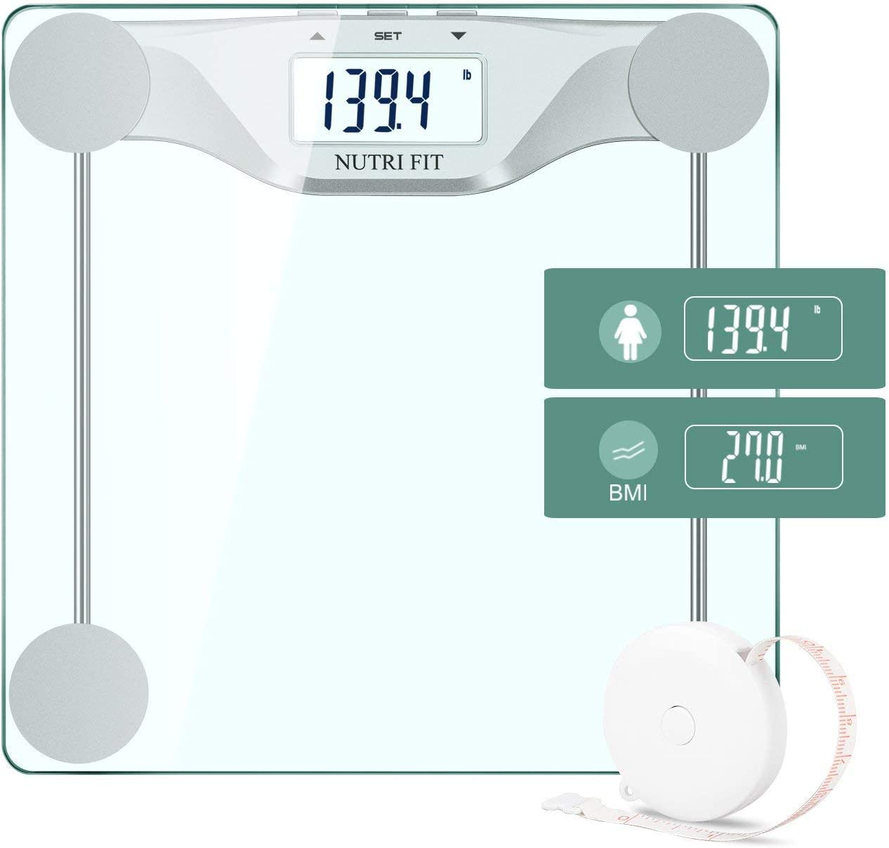 Digital Body Weight Bathroom Scale BMI, Accurate Weight Measurements Scale,Large Backlight Display and Step-On Technology,400 Pounds,Body Tape Measure Included BMI