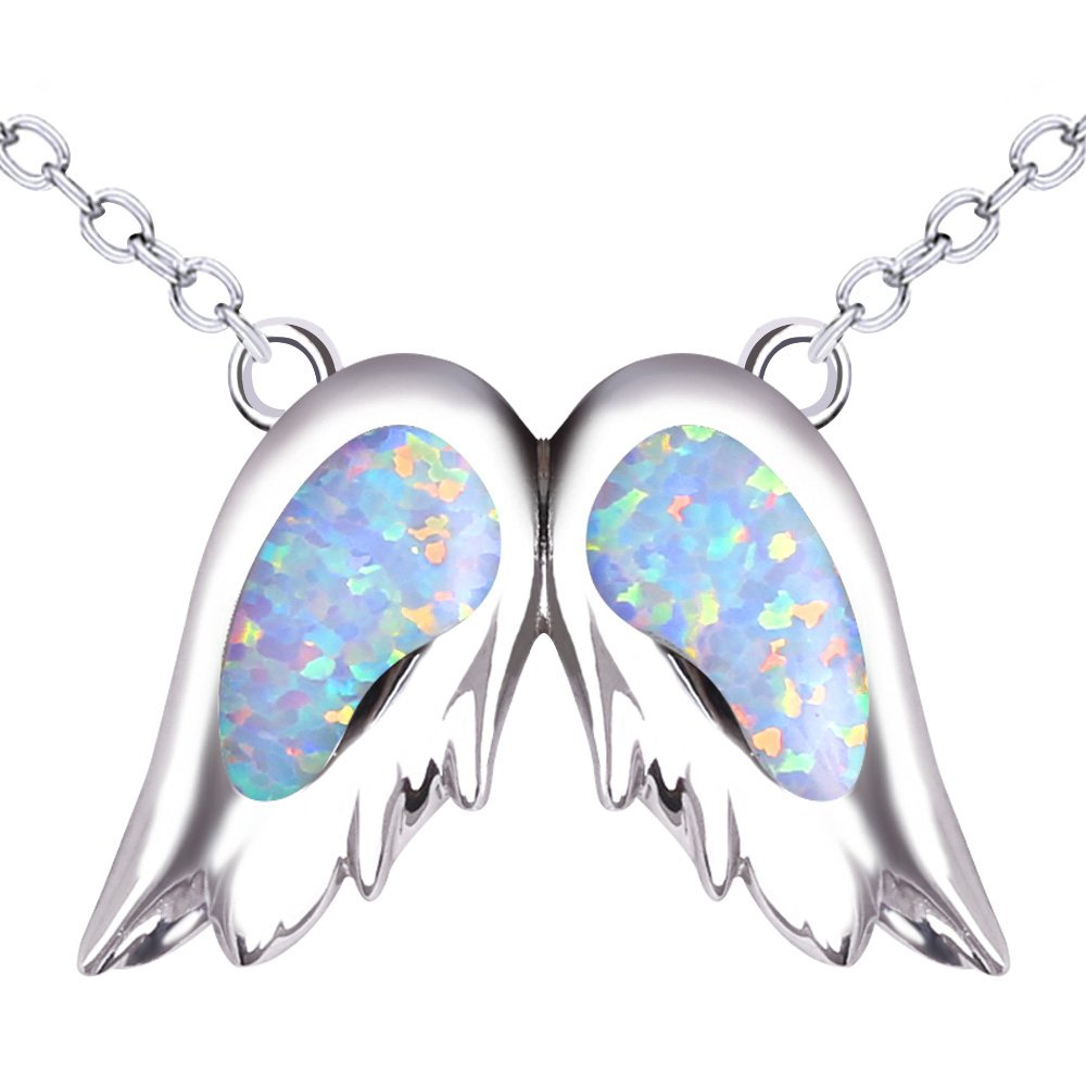 KELITCH Angel Wings Choker Necklace Syuthetic Opal Pendant with 16-18'' Chain