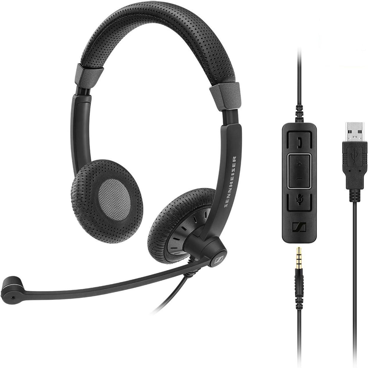 Sennheiser SC 75 USB MS Binaural Diadema Negro - Auriculares con micrófono (Centro de Llamadas/Oficina, Binaural, Diadema, Negro, Alámbrico, 1,12 m)