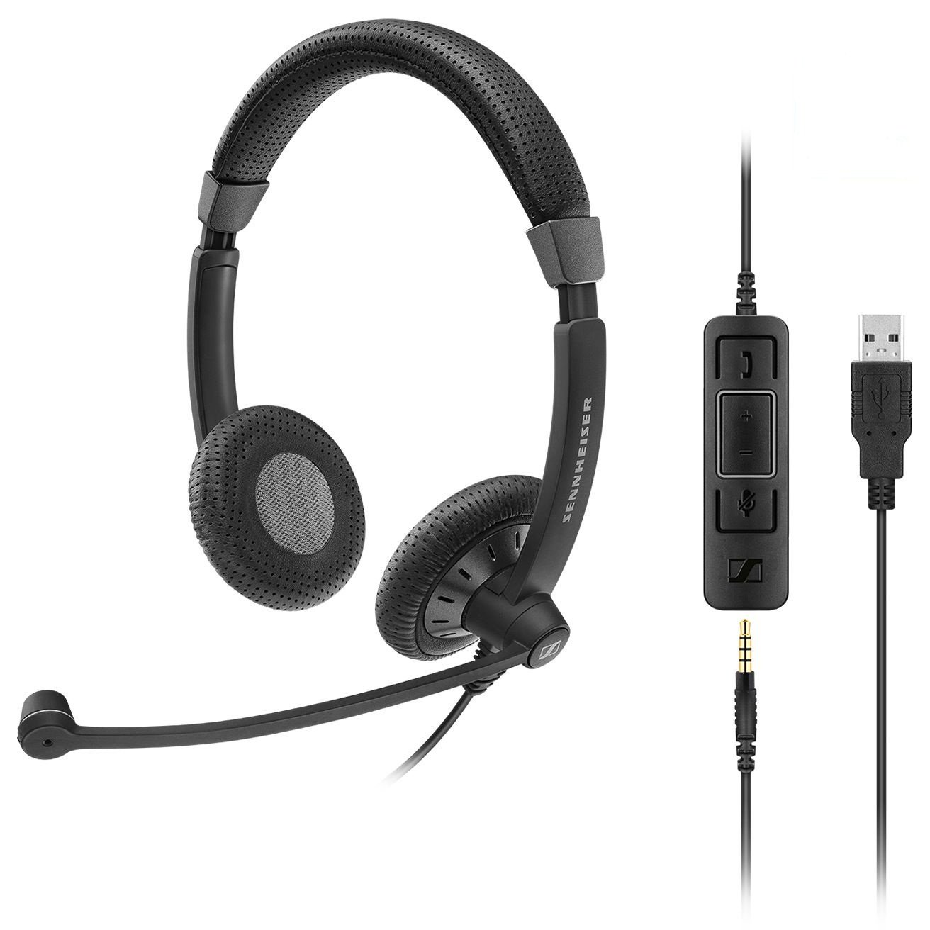 Sennheiser SC 75 USB MS Culture Plus Mobile, Double-sided, Wired Headset with both 3.5 mm Jack and USB connectivity Skype for Business Certified