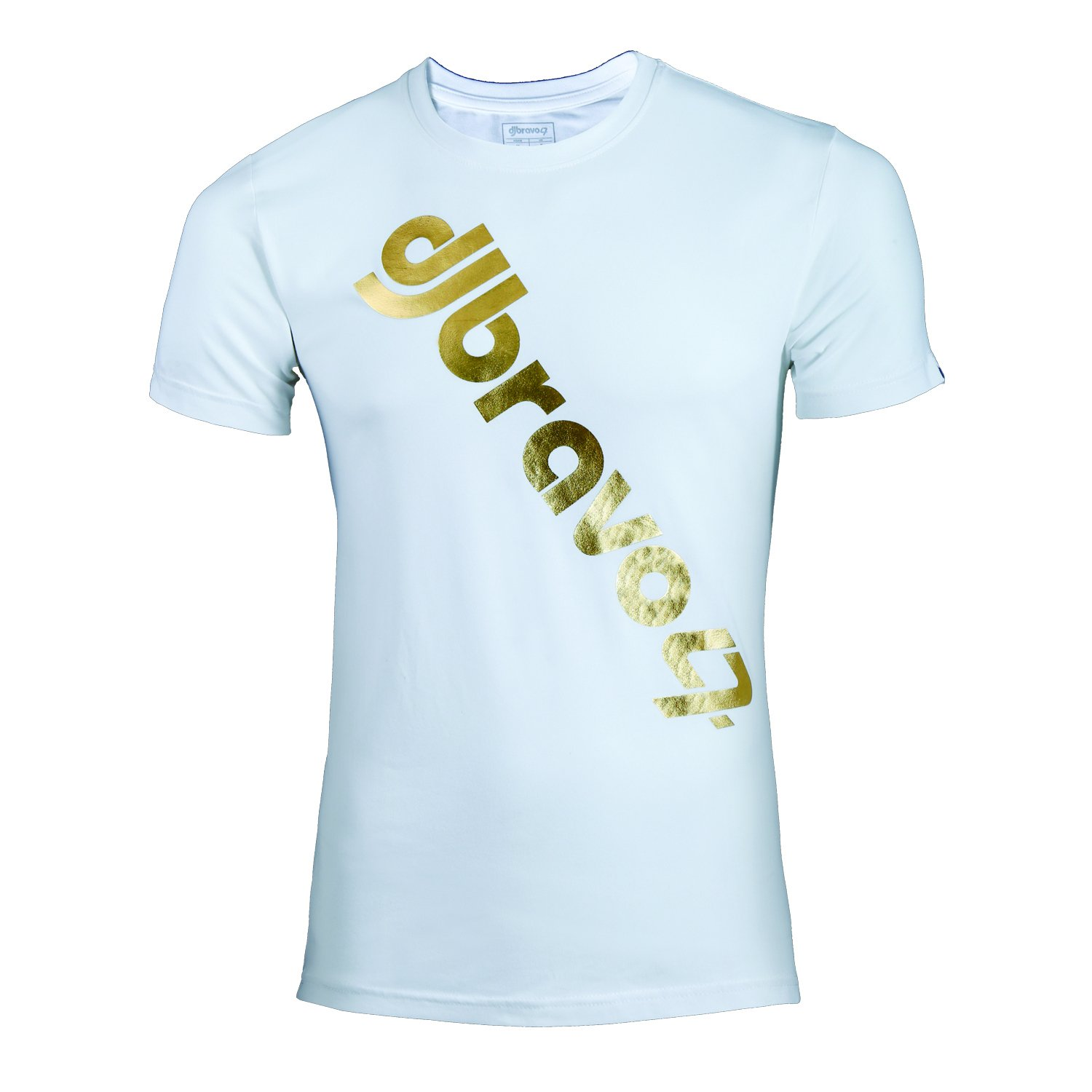 a64566b07 Amazon.com: djbravo47 Men's TShirt Men's Logo round neck Slim fit Half  sleeve T shirt White with Gold: Clothing