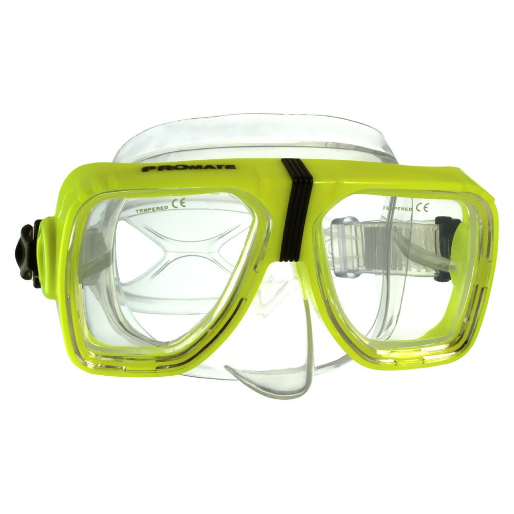 Promate Different Optical Corrective Lens on Each Side Snorkel Mask, Yellow by Promate