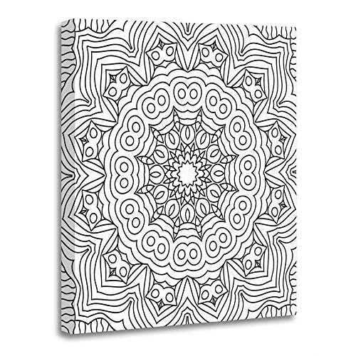 (Emvency Painting Canvas Print Artwork Decorative Print Wooden Frame Coloring Page for Adults Part of Intricate Mandala Tribal for Black and White 16x20 Inches Wall Art for Home)