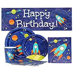 Space Rocket Party Supply Package for 16 Guests