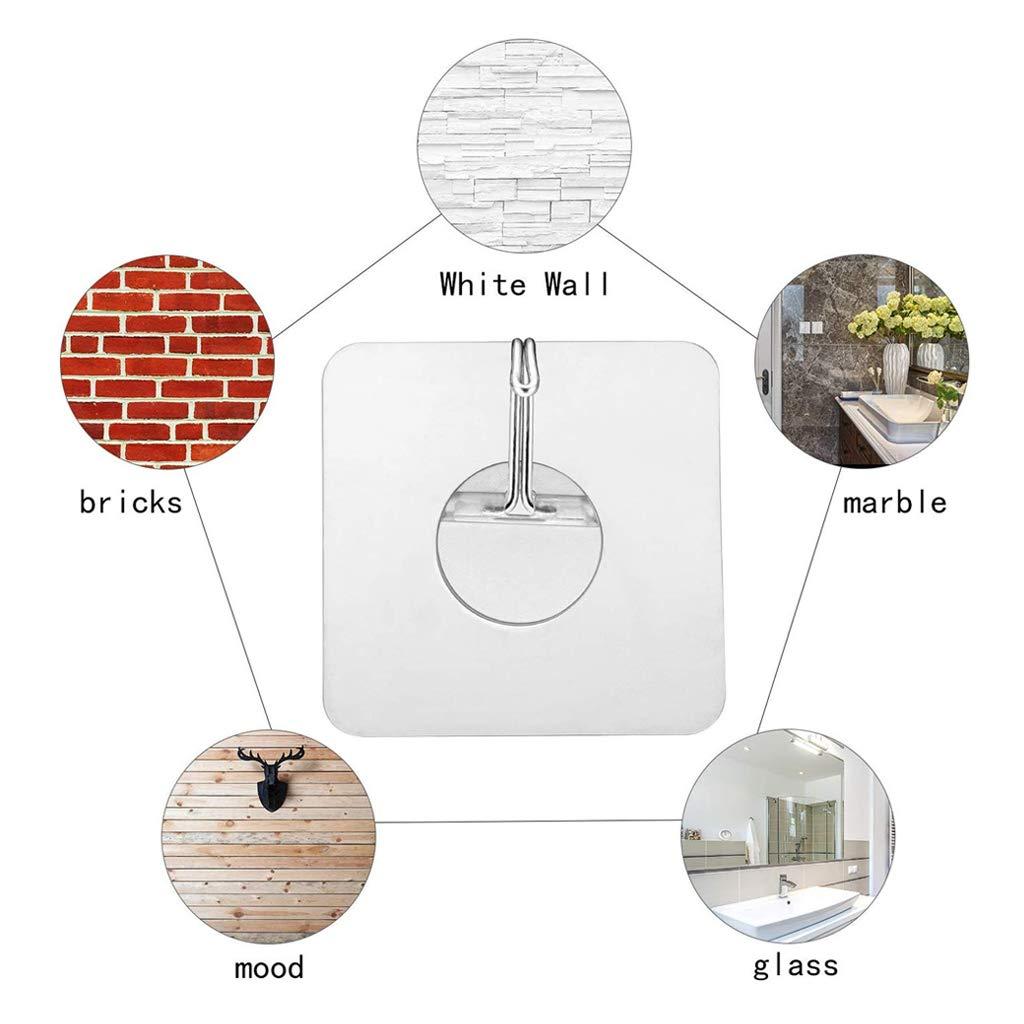 JZZJ Ganchos Adhesivos para Pared 30 Unidades, 15 kg, sin Costuras, Transparentes, Ganchos para Toalla de Cocina