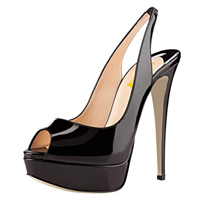 3737c280c3a6 FSJ Women Awesome Platform Peep Toe Pumps Slingback High Heel Stilettos  Prom Shoes Size 10 Black