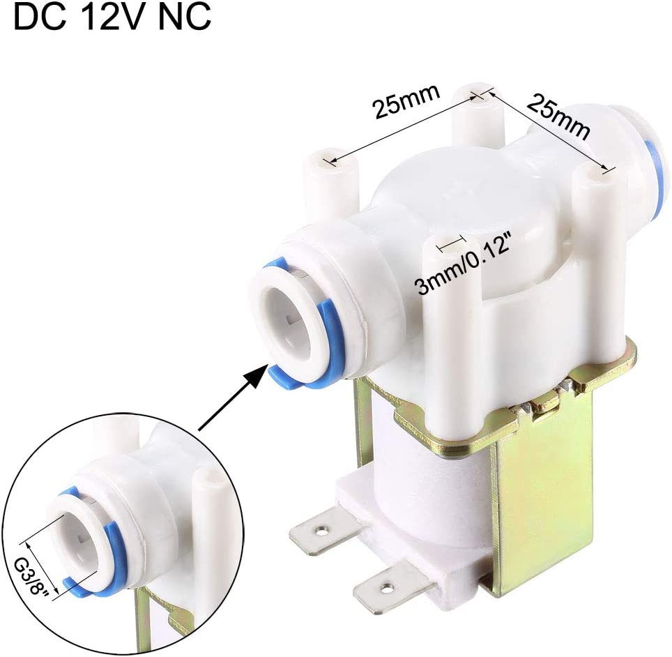 uxcell G3//8 Water Solenoid Valve DC 12V NC Normally Closed Quick Connect Inlet Valves