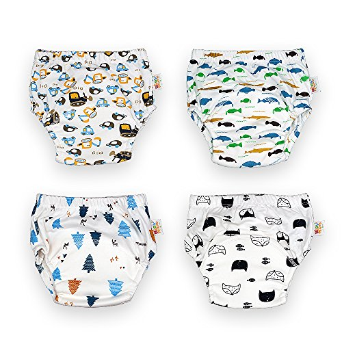 (Baby Toddler Toilet Pee Training Pants 4 Packs Nappy Underwear Cloth Diapers for Boys)